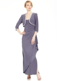 Alex Evenings Embellished Draped Gown and Jacket Set