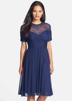 Alex Evenings Embellished Illusion Yoke Chiffon Fit & Flare Dress (Regular & Petite)