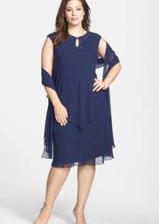 Alex Evenings Embellished Keyhole Tiered Chiffon Dress with Shawl (Plus Size)