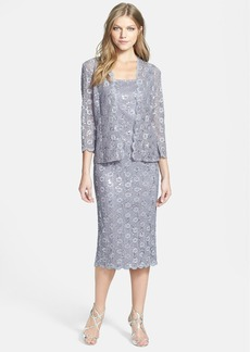 Alex Evenings Embellished Lace Pencil Dress & Jacket (Petite)