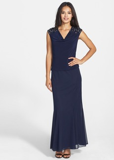 Alex Evenings Embellished Mixed Media Mock Two-Piece Gown (Regular & Petite)