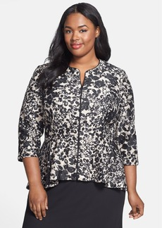 Alex Evenings Embellished Printed Lace Zip Front Jacket (Plus Size)