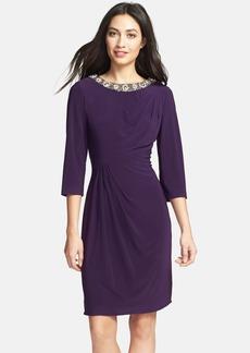 Alex Evenings Embellished Side Draped Jersey Dress