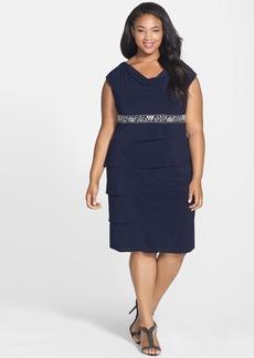 Alex Evenings Embellished Waist Drape Neck Dress (Plus Size)