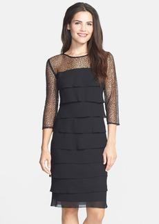 Alex Evenings Embellished Yoke Tiered Dress (Petite)