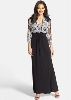 Alex Evenings Embroidered Bodice Gown with Jacket