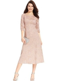Alex Evenings Embroidered Lace Tea-Length Dress