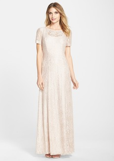 Alex Evenings Embroidered Mesh A-Line Gown (Regular & Petite)
