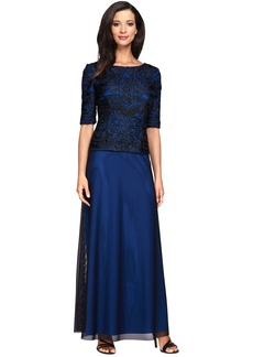 Alex Evenings Embroidered Tulle Gown