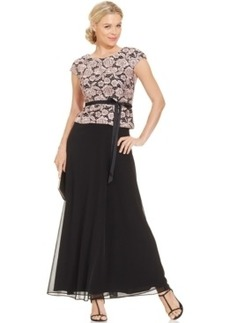 Alex Evenings Floral-Lace Bodice Belted Gown
