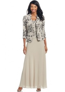 Alex Evenings Floral-Print Gown and Jacket