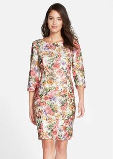 Alex Evenings Floral Print Lace Shift Dress (Regular & Petite)