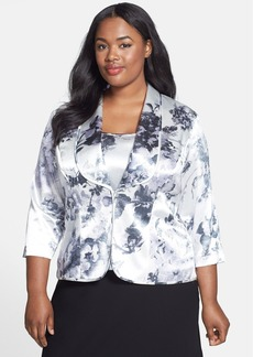 Alex Evenings Floral Print Satin Twinset (Plus Size)