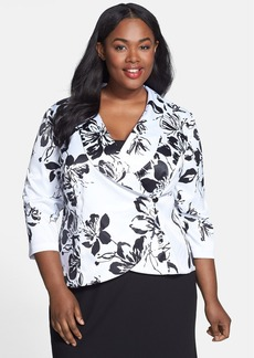 Alex Evenings Floral Print Side Closure Blouse (Plus Size)