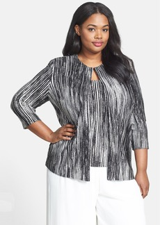 Alex Evenings Foil Print Knit Twinset (Plus Size)
