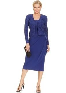 Alex Evenings Glitter Lace Faux-Wrap Dress and Jacket