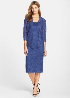Alex Evenings Glitter Lace Sheath Dress & Jacket (Regular & Petite)