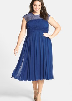 Alex Evenings Illusion Yoke Ruched Dress (Plus Size)