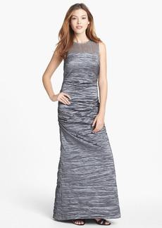 Alex Evenings Illusion Yoke Taffeta Gown
