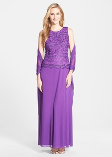 Alex Evenings Lace & Chiffon Gown with Shawl (Regular & Petite)