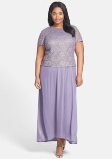 Alex Evenings Lace & Chiffon Long A-Line Dress (Plus Size)