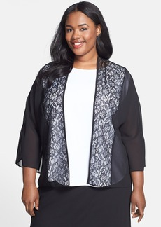 Alex Evenings Lace & Georgette Open Front Jacket (Plus Size)