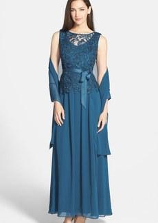 Alex Evenings Lace Bodice Chiffon Gown & Shawl