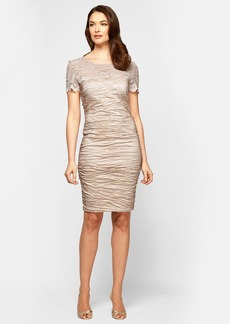 Alex Evenings Lace Illusion Yoke Sheath Dress