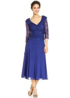 Alex Evenings Lace Portrait-Collar Dress