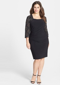 Alex Evenings Lace Sleeve Matte Jersey Dress (Plus Size)