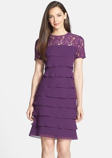 Alex Evenings Lace Yoke Tiered Georgette Dress (Regular & Petite)