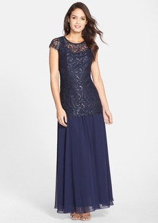 Alex Evenings Metallic Lace & Chiffon Gown