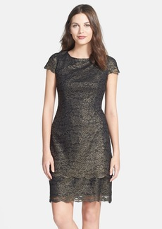 Alex Evenings Metallic Lace Layered Hem Sheath Dress (Regular & Petite)