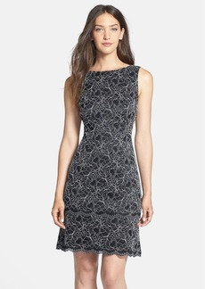Alex Evenings Metallic Lace Tiered Sheath Dress