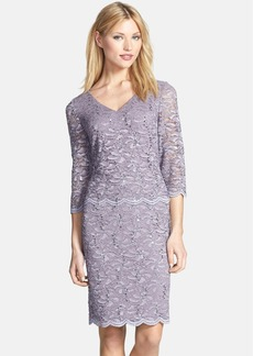 Alex Evenings Mock Two-Piece Lace Sheath Dress (Regular & Petite)