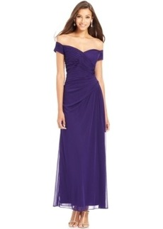 Alex Evenings Off-The-Shoulder Pleated Gown