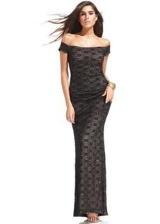 Alex Evenings Off-The-Shoulder Sequin Lace Gown