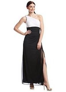 Alex Evenings® One-Shoulder Contrast Bodice Long Dress