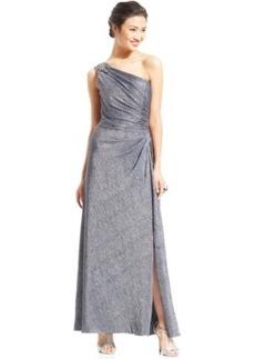 Alex Evenings One-Shoulder Textured Metallic Gown