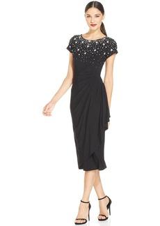 Alex Evenings Petite Cap-Sleeve Beaded Sequined Gown