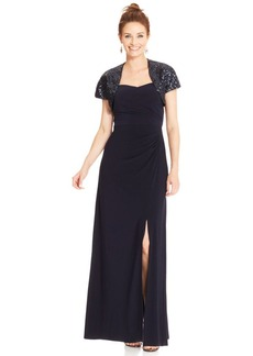 Alex Evenings Petite Sleeveless Gown and Sequin Bolero
