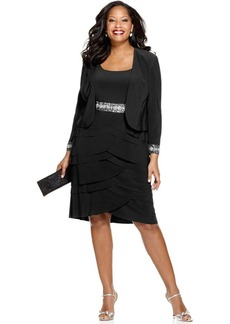 Alex Evenings Plus Size Beaded Tiered Dress and Jacket