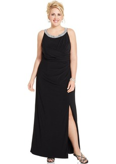 Alex Evenings Plus Size Embellished Cutout Gown