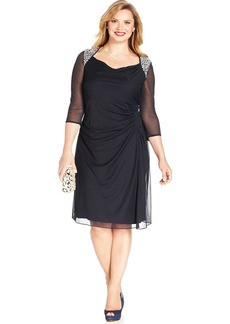 Alex Evenings Plus Size Embellished Draped Dress