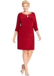 Alex Evenings Plus Size Embellished Faux-Wrap Dress