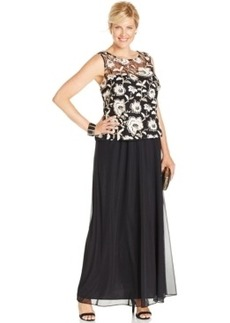 Alex Evenings Plus Size Embroidered Floral Overlay Dress