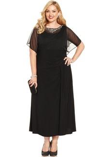 Alex Evenings Plus Size Flutter-Sleeve Embellished Dress