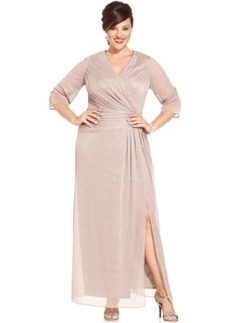 Alex Evenings Plus Size Glittered Side-Slit Gown