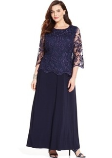 Alex Evenings Plus Size Illusion Lace-Sleeve Gown