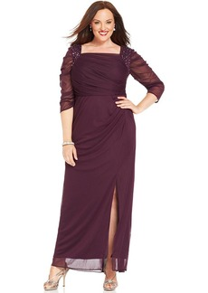 Alex Evenings Plus Size Illusion-Sleeve Embellished Gown